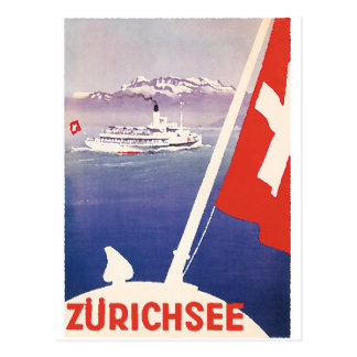 Vintage Travel Posters: Lake Zurich Switzerland Postcard