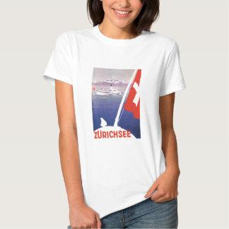 Vintage Travel Posters: Lake Zurich Switzerland Tee Shirts