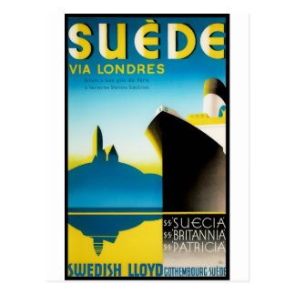Vintage Travel Posters: Suede via Londres Postcard