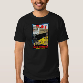 Vintage Travel Posters: United States Lines Tee Shirts