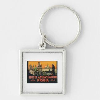 Vintage Travel Praha Czech Republic Hotel Label Key Chain