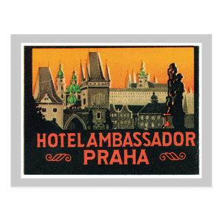Vintage Travel Praha Czech Republic Hotel Label Postcard