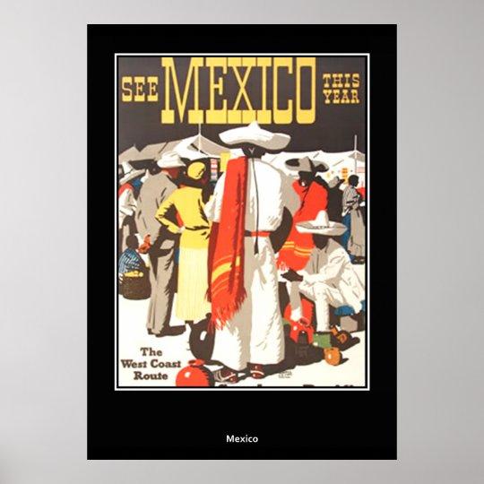 vintage Travel Print Poster Mexico
