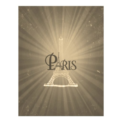 Vintage Travel Retro Style Eiffel Tower Paris Grey Personalized Flyer