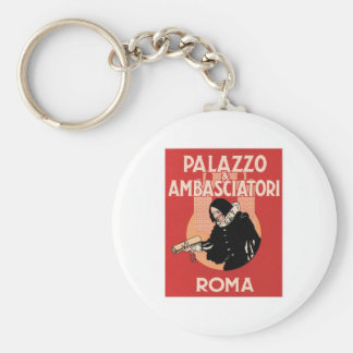 Vintage Travel Roma Italy Hotel Label Basic Round Button Key Ring