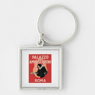 Vintage Travel Roma Italy Hotel Label Key Chain