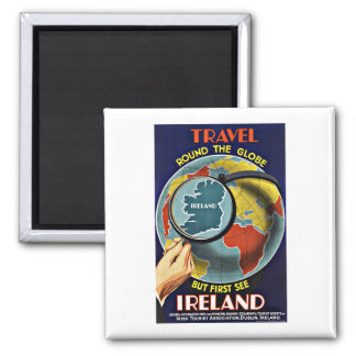 Vintage Travel Round the Globe See Ireland Square Magnet