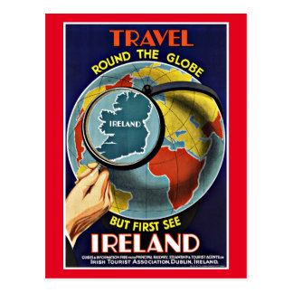Vintage Travel Round the Globe See Ireland Postcard