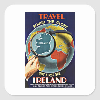 Vintage Travel Round the Globe See Ireland Square Sticker