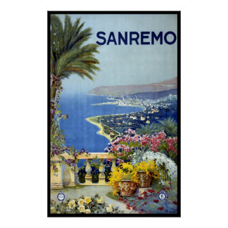 Vintage Travel, San Remo, Italy, Italian Riviera Poster
