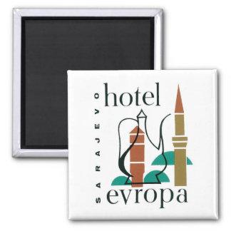 Vintage Travel Sarajevo Hotel Label Square Magnet