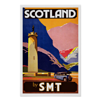 Vintage Travel Scotland By Bus Poster