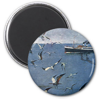 Vintage Travel, Seagull Birds and Fishing Boat 6 Cm Round Magnet
