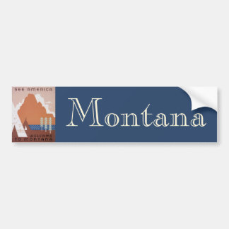 Vintage Travel, See America Welcome to Montana Bumper Sticker