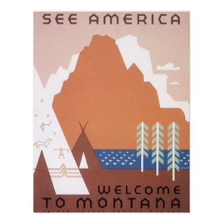 Vintage Travel See America Welcome to Montana Invitation