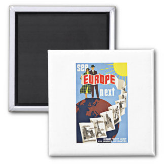 Vintage Travel See Europe 2 Inch Square Magnet