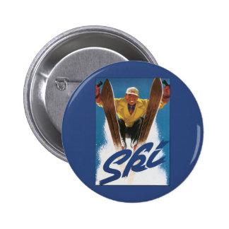 Vintage Travel, Sports Skier Skiing in Winter Snow 6 Cm Round Badge