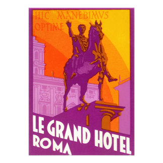Vintage Travel Statue Le Grand Hotel Roma Italy Invite