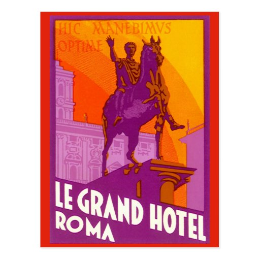 Vintage Travel, Statue Le Grand Hotel Roma Italy Postcards