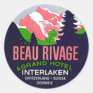 Vintage Travel Stickers Interlaken Switzerland Alp