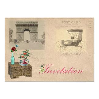 """Vintage Travel Style Invites 5"""" X 7"""" Invitation Card"""