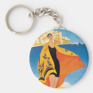 Vintage Travel, Summer Beach with Woman at Calvi Key Ring