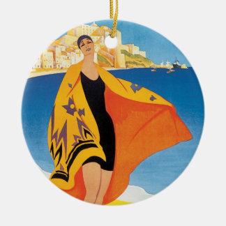 Vintage Travel, Summer Beach with Woman at Calvi Round Ceramic Decoration