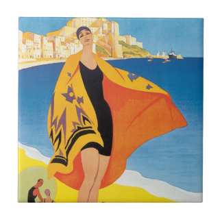 Vintage Travel, Summer Beach with Woman at Calvi Small Square Tile