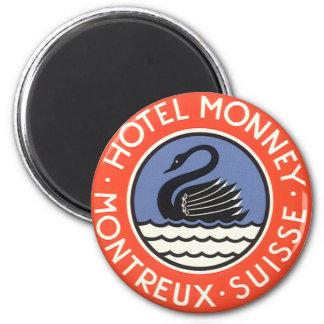 Vintage Travel, Swan Bird Hotel Monney Switzerland 6 Cm Round Magnet