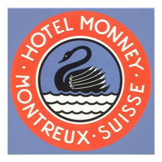 Vintage Travel Swan Bird Hotel Monney Switzerland Personalized Invites