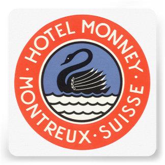 Vintage Travel Swan Bird Hotel Monney Switzerland Invites