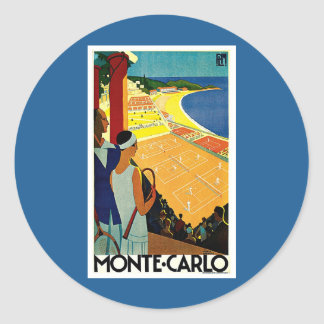 Vintage Travel, Tennis, Sports, Monte Carlo Monaco Classic Round Sticker