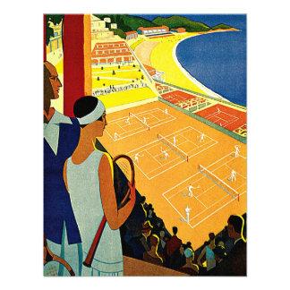 Vintage Travel Tennis Sports Monte Carlo Monaco Personalized Announcements