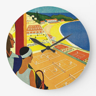 Vintage Travel, Tennis, Sports, Monte Carlo Monaco Large Clock