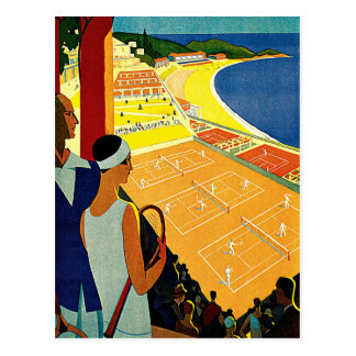 Vintage Travel, Tennis, Sports, Monte Carlo Monaco Post Card