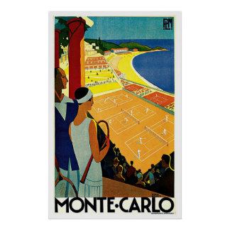 Vintage Travel, Tennis, Sports, Monte Carlo Monaco Poster