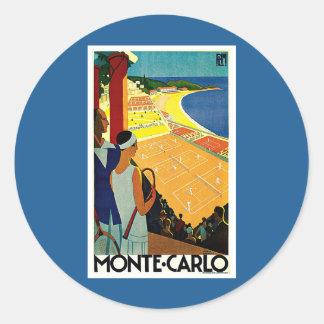 Vintage Travel, Tennis, Sports, Monte Carlo Monaco Round Sticker