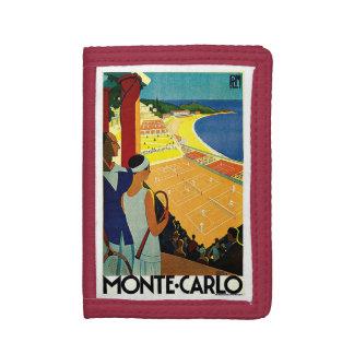 Vintage Travel, Tennis, Sports, Monte Carlo Monaco Tri-fold Wallets