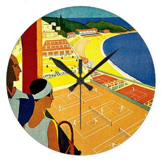 Vintage Travel, Tennis, Sports, Monte Carlo Monaco Wall Clocks