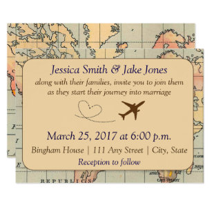 Awesome Vintage, Travel Themed Wedding Invite