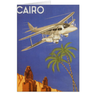 Vintage Travel to Cairo, Eygpt, Biplane Airplane Card