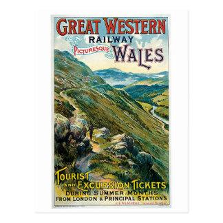Vintage travel to Wales advert Postcard