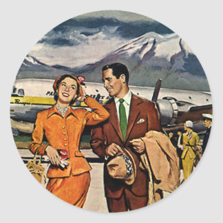 Vintage Travel, Tourists on the Airport Tarmac Classic Round Sticker