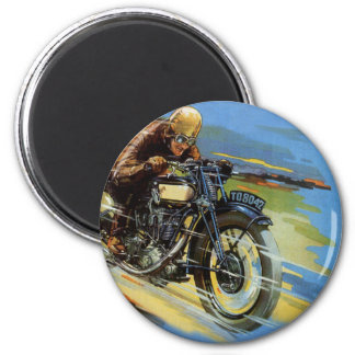 Vintage Travel Transportation, Racing Motorcycle 6 Cm Round Magnet