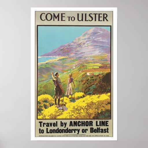 Vintage Travel Ulster Ireland Poster