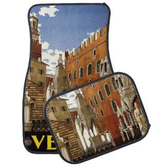 Vintage Travel Verona Italy car floor mats