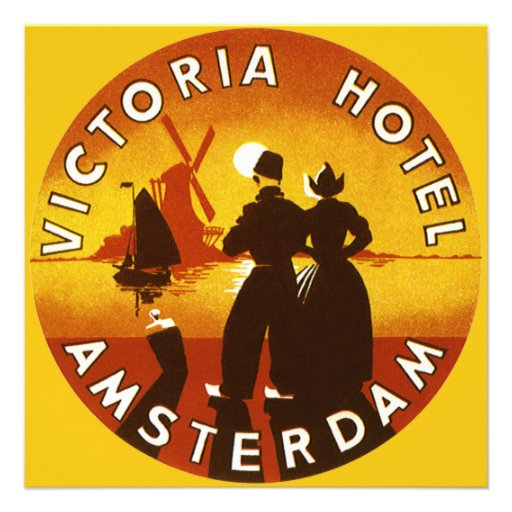 Vintage Travel, Victoria Hotel, Amsterdam, Holland Personalized Announcements