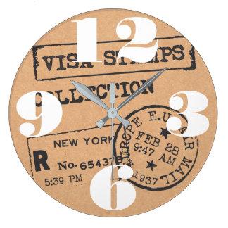 Vintage Travel Visa Stamps Large Clock