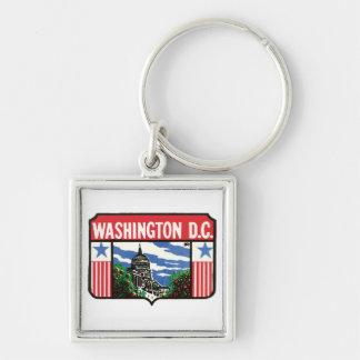 Vintage Travel Washington D.C. State Label Art Keychain