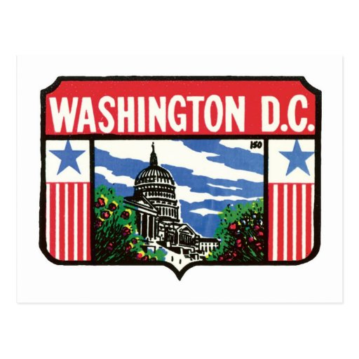 Vintage Travel Washington D.C. State Label Art Postcards